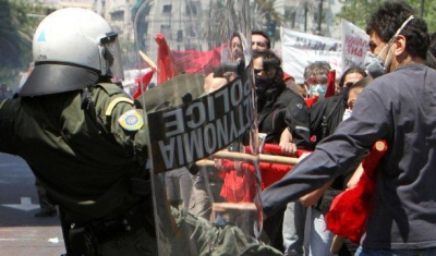 Intervention by the police during a demonstration in Greece