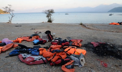 Lifejackets on a beach in Greece