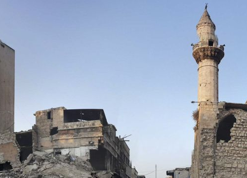 Syria, Aleppo, Al-Swaiqa. Destructions at the entrance of one of the ancient bazars in the city.