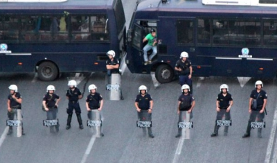 Police in the streets of Athens