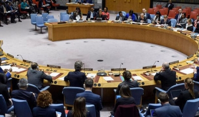 A wide view of the Security Council meeting on peace and security in Africa, with a focus on countering terrorism and extremism in Africa.
