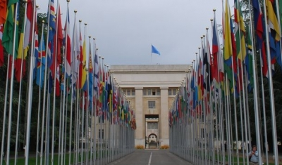 Flags outside the Palais de Nations in Geneva
