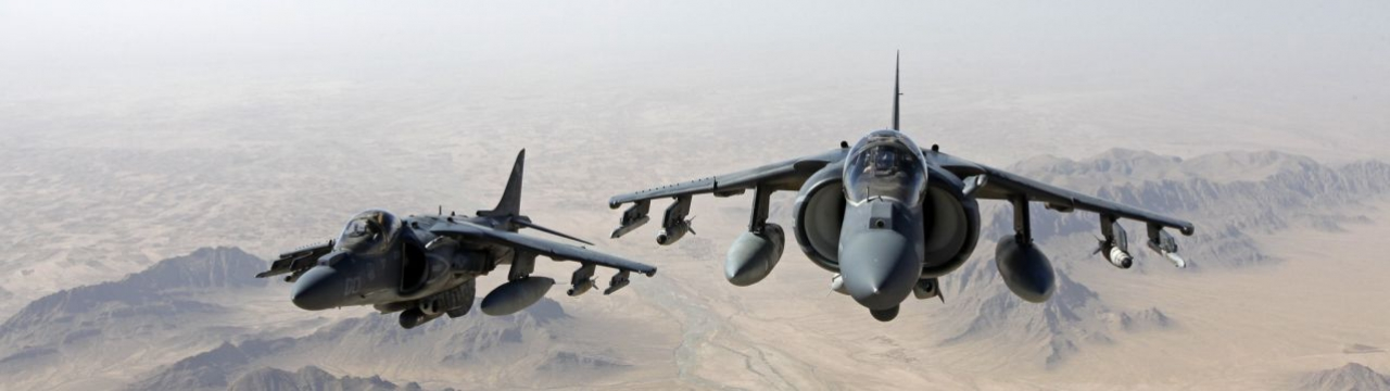 AV-8B Harrier jets with Marine Attack Squadron 311 fly over Helmand province, Afghanistan, June 10, 2013