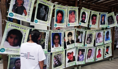 Cali, Colombia: wall with photos of disappeared.