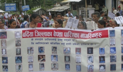 Nepal,  Bardia district, Gulariya. Families of missing persons mark the 29th International Day of the Disappeared.