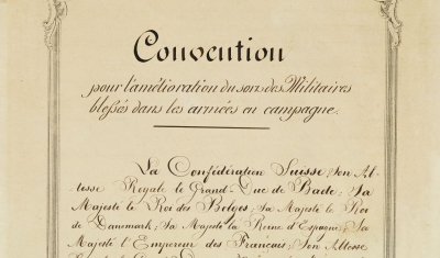 First page of the Geneva Convention of 22th of August 1864.