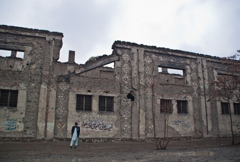 Destroyed building in Kabul, Afghanistan
