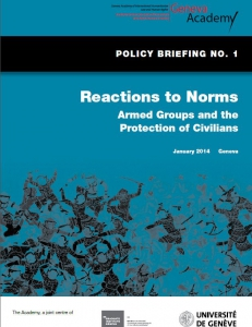 Cover of the Policy Briefing No1: Reactions to Norms Armed Groups and the Protection of Civilians
