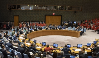 On the screen, on the screen is Peter Maurer, President of the International Committee of the Red Cross (ICRC), briefing the Security Council on the 70th Anniversary of Geneva Conventions.